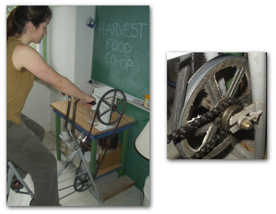 Power the grain mill with an exercycle.