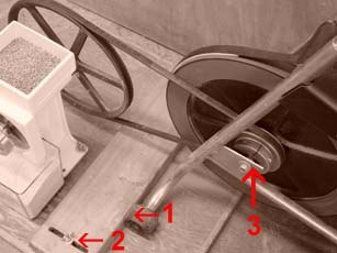 Installation points for combining a grain mill with a exercise bike